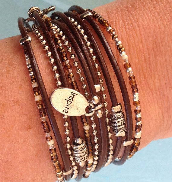 Boho Leather Wrap Bracelet// Silver Beaded Bracelet// Multistrand Leather…