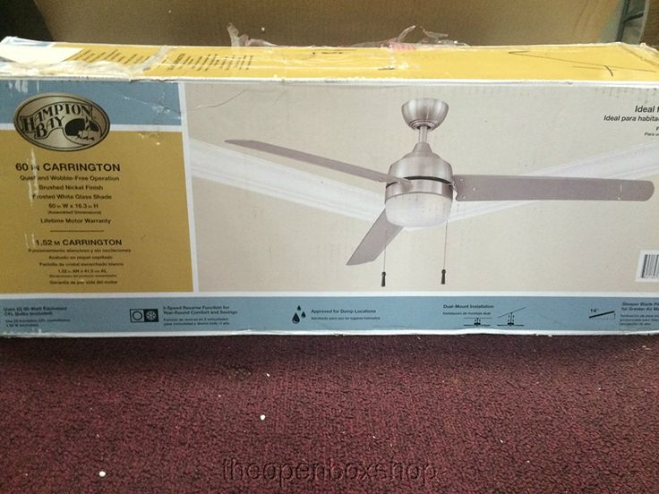 Hampton Bay Carrington 3-Bladed 60-Inch Ceiling Fan, Brushed Nickel - - Amazon.com