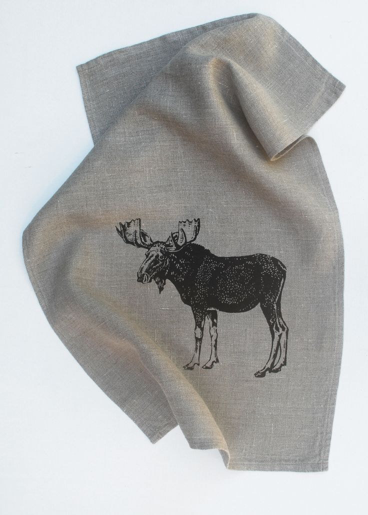 Another Natural Linen Tea Towel with my Moose printed on it