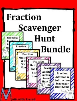 These scavenger hunts really spice up a fractions unit.  My students get so excited about fraction operations with these scavenger hunts.  Topics include reducing fractions, fraction addition, fraction subtraction, fraction multiplication, and fraction division.