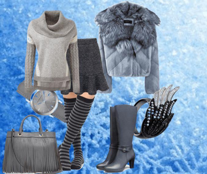 Полосатые гетры, серые сапоги, юбка, свитер, полушубок, сумка, часы, кольцо