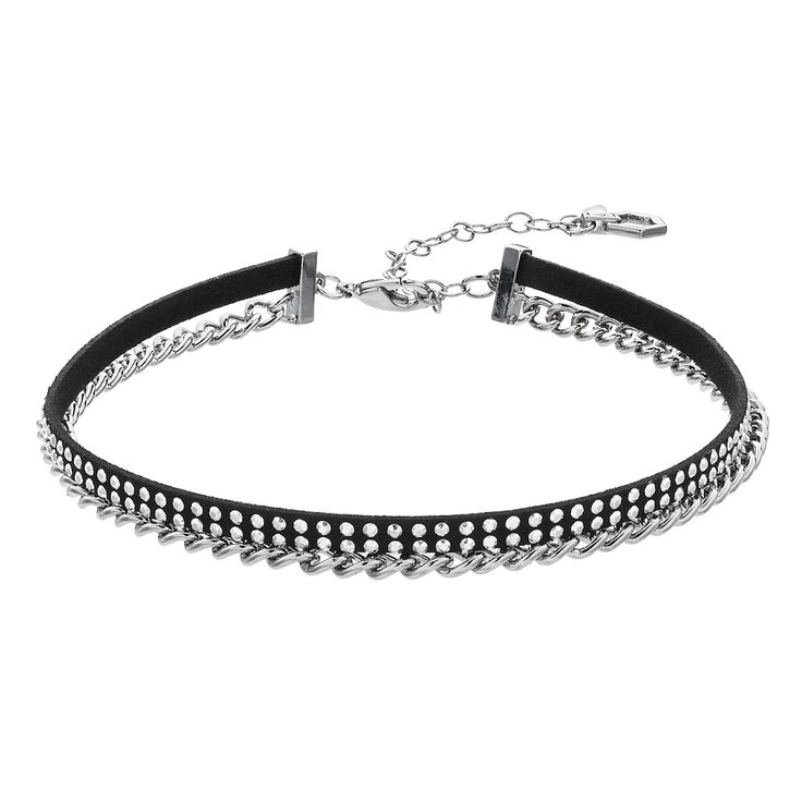Simply Vera Vera Wang Rhinestone Studded Chain Choker Necklace, Women's, Silver