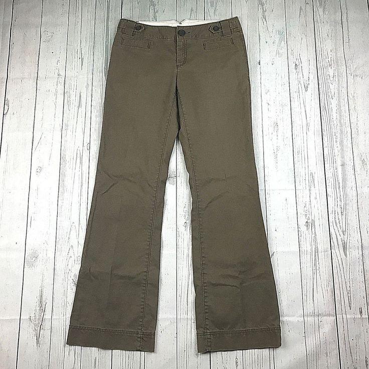 Banana Republic womens 4 brown stretch boot cut flare casual chinos pants #BananaRepublic #CasualPants