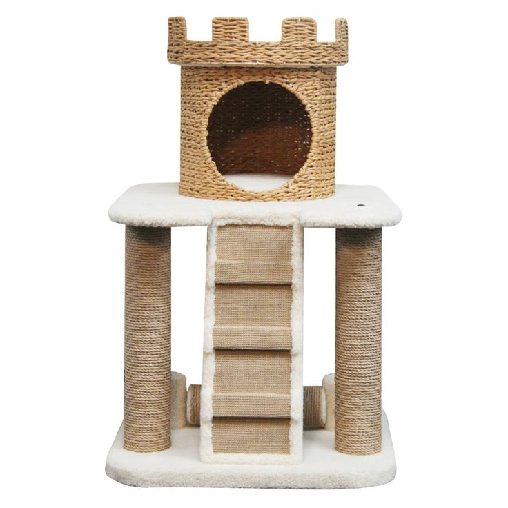 Cat Tree Designed As A Sand Castle Features Multiple Paper Made Post, A  Ladder, Lamb Fleece Platform, And A Paper Rope Crown Nest And Condo,  Assembles In ...