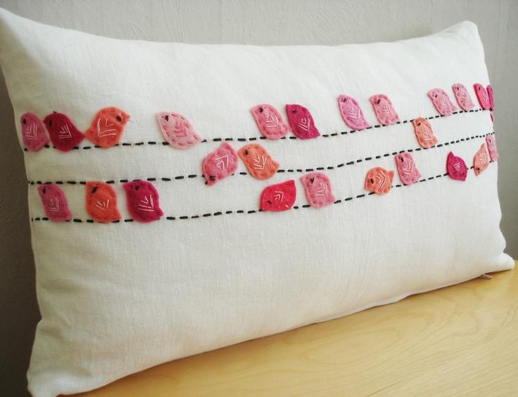 Sukan / Pinks Birds White Linen Pillow Cover Lumbar por sukanart, $78,00