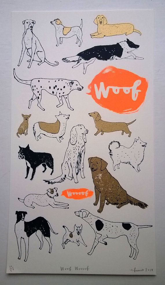 Woof Woooof hand made screen print in my etsy shop now  charlottefarmer1