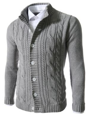 (FFC19-GRAY) Mens Slim Fit Twist Knitted 7 Button Cardigan