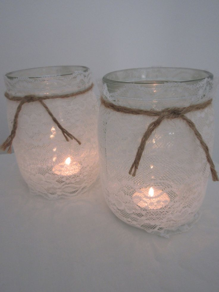 Hessian Lace Handmade Glass Jars - 1 Litre by BowsandSurprises on Etsy