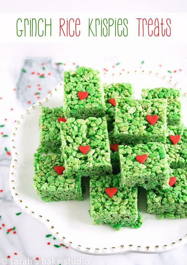 Grinch Rice Krispies Treats – effortless Rice Krispies Treats with a fun and festive Grinch Christmas twist!