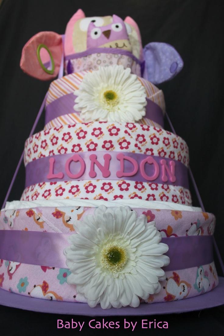 20 best diaper cakes for girls images on pinterest cake baby pink owl diaper cake baby cakes by erica baditri Gallery