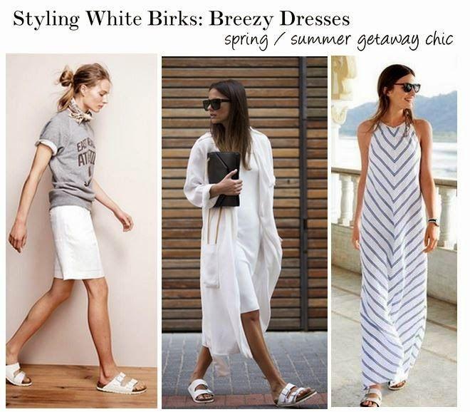 How To Style White Birkenstocks Skirts Dresses