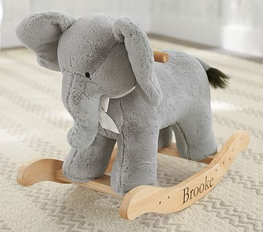 I think I'm over owls for baby... Elephants are where it's at.  Elephant Plush Rocker #pbkids
