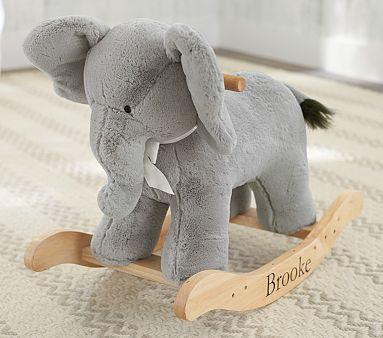 I think I'm over owls for baby... Elephants are where it's at. Elephant Plush Rocker #pbkids