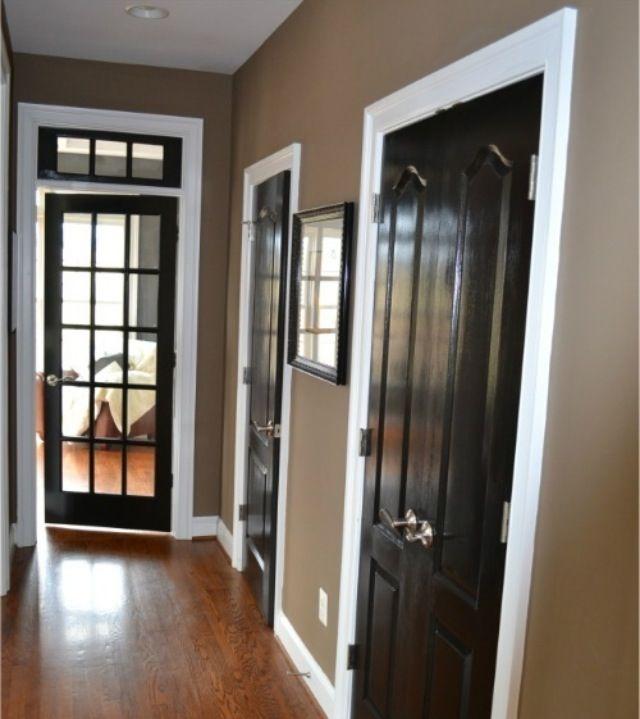 beige walls white trim black doors home decor pinterest beige walls black door and. Black Bedroom Furniture Sets. Home Design Ideas