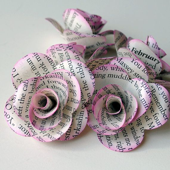 6 Handmade Paper ROSES from REPURPOSED BOOK Pages $5.00