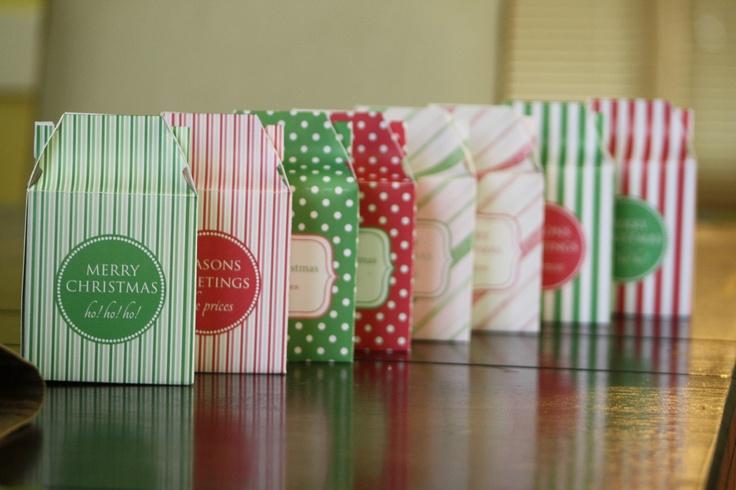 Printable Christmas Mini Gable Box/Holiday Gift Bag. $5.00, via Etsy.: Minis Gables, Christmas Minis, Gifts Bags, Bold Stripes, Gifts Cards, Boxes Holidays Gifts, Printable Christmas, Gables Boxes Holidays, Gifts Boxes