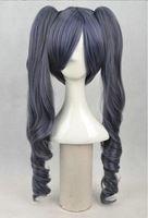 """ciel mordomo negro phantomhive luz menina preto 22"""" perucas cosplay com dois ponytail japão natural sintético perucas cosplay f4720"""