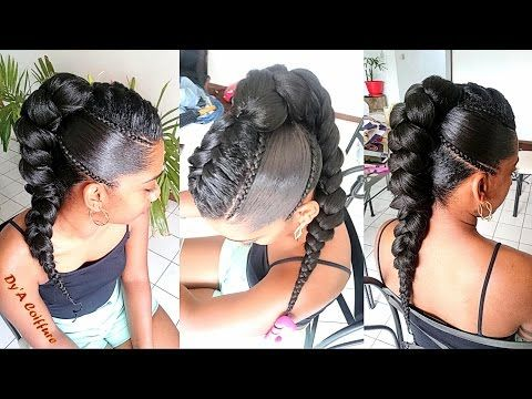 "New mohawk style with a ""french"" braid, mini cornrows & a jumbo braid - YouTube"