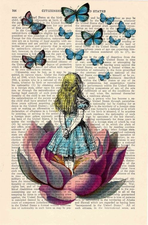 alice in wonderland | drawn on book page