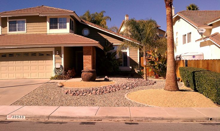 Full view of a xeriscaped front yard xeriscape designs for Xeriscaped backyard design