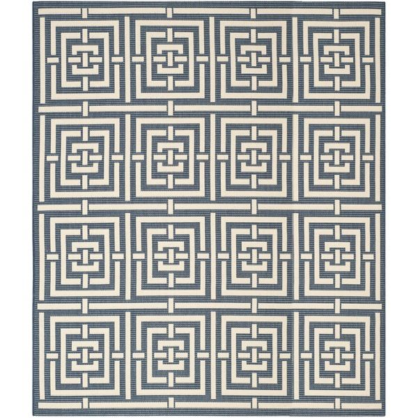 Safavieh Geometric Indoor/Outdoor Courtyard Navy/Beige Rug (9u0027 X 12u0027)  (CY6937 268 9), Blue, Size 9u0027 X 12u0027