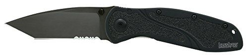 Kershaw Tanto Serrated Blur Knife with SpeedSafe (Tactical Black). For product & price info go to:  https://all4hiking.com/products/kershaw-tanto-serrated-blur-knife-with-speedsafe-tactical-black/