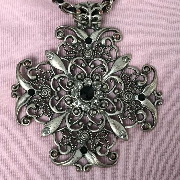 Ornate Cross Necklace rhinestones SILVER TONE faux LEATHER CORD through chain #Unbranded #Chain