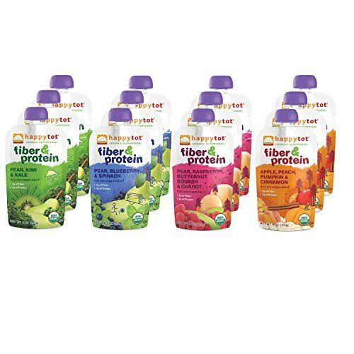Especially good for picky eaters, these Fiber & Protein pouches are a delicious mix of organic fruits and veggies that are optimized with the added nutrients energetic toddlers nee