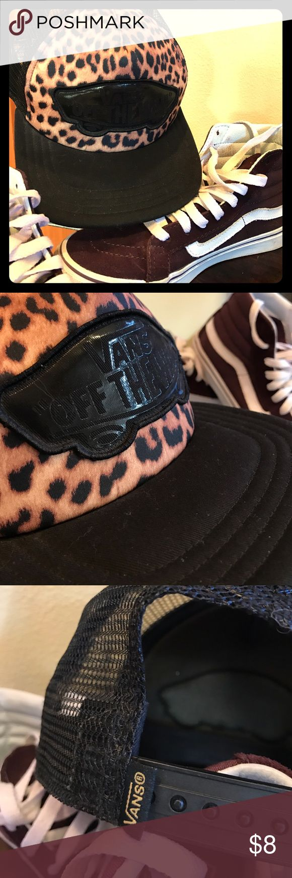 VANS Cheetah Print Trucker Hat Polyester mesh back adjustable hat. Black and cheetah print with black Vans of the Wall logo patch. Vans Accessories Hats