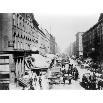 1890s Chicago South Water St. Street Scene Photo