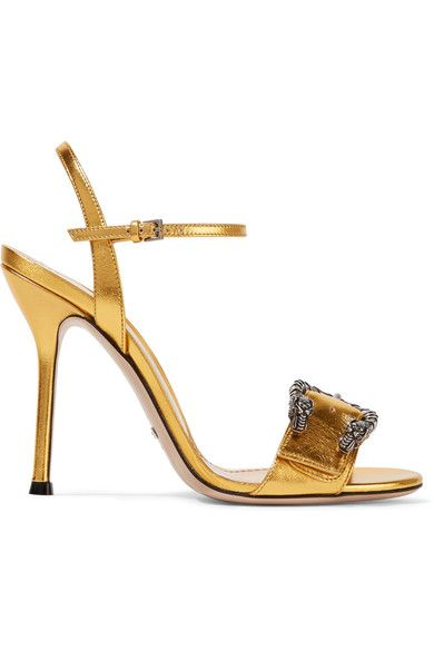Heel measures approximately 110mm/ 4.5 inches Gold leather Buckle-fastening ankle strap Made in Italy