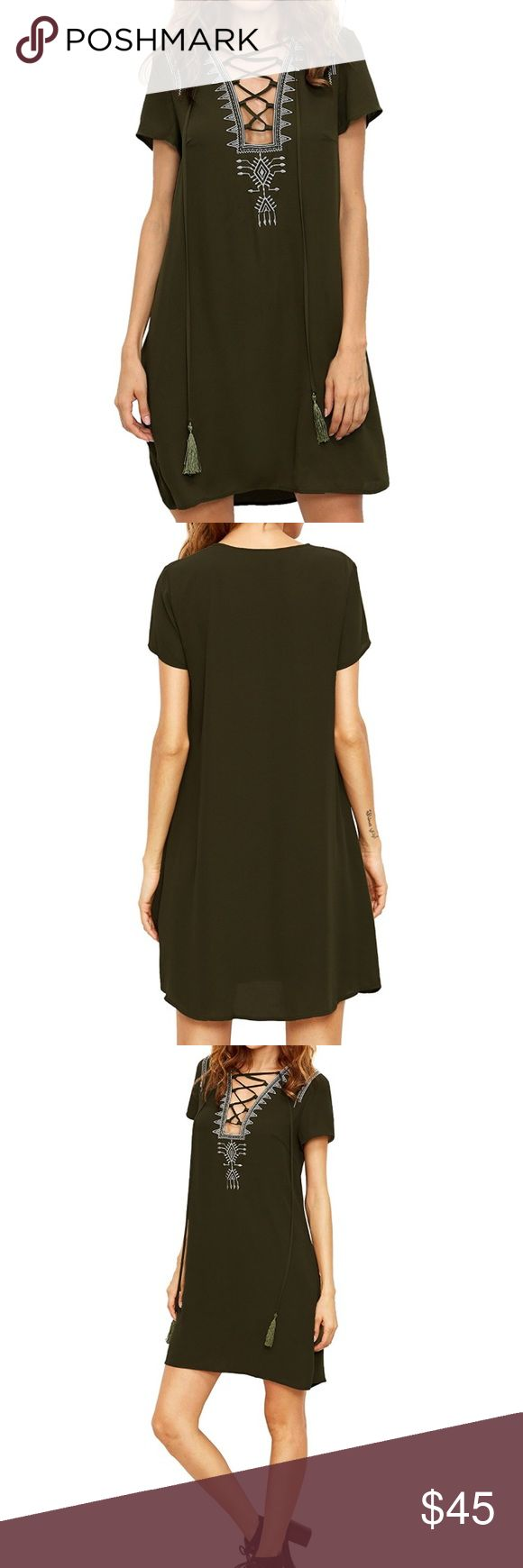 NWOT Lace Up Boho Army Green Shift Dress Brand new Boho shift dress in a trendy army green shade. 100% polyester. Features a Lace up neckline with an interesting cut, tassles, and Boho embroidery. Dresses Mini