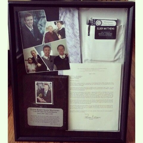 Shadow Box I made for my son who returned from his LDS mission... I Love that it turned out exactly like I wanted.