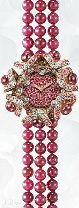 Chaumet Hortensia watch in 18K pink gold, set with sapphires, diamonds, rubies and rubellites, pearl (unique piece)   LBV ♥✤