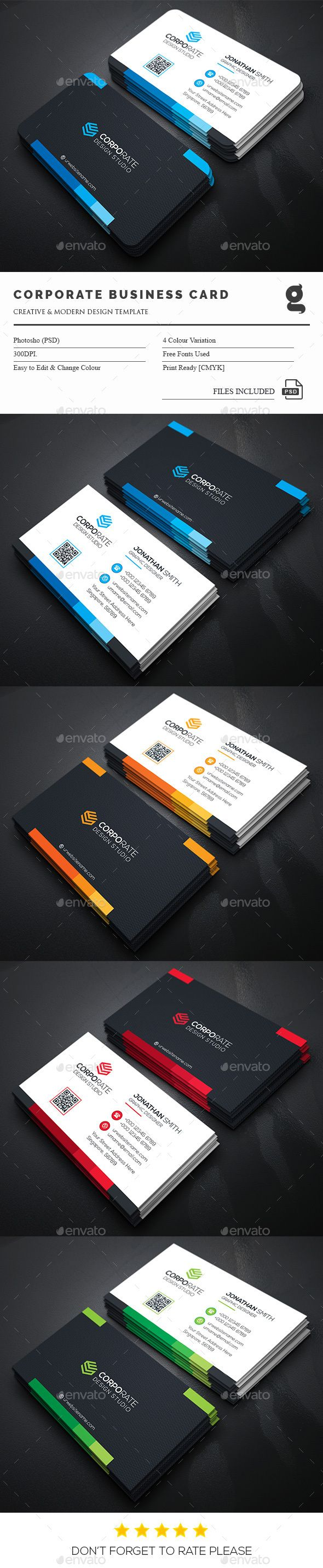 Corporate Business Card — Photoshop PSD #creative #both side design • Available here → https://graphicriver.net/item/corporate-business-card/15098610?ref=pxcr