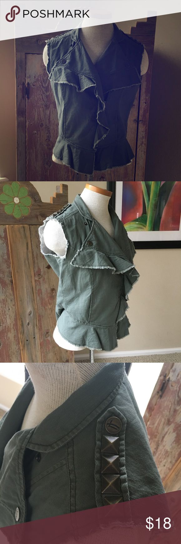 William Rast Military vest olive green Sz S William Rast Military vest olive green Sz S.  Studded on shoulders.  Lining has come unstitched in one spot.  See photos for details. William Rast Jackets & Coats Vests