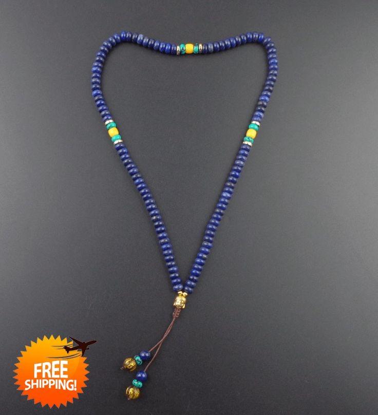 Natural Stone 108 lapis lazuli mala beads with Buddha head yoga jewelry meditation Prayer beads Necklace