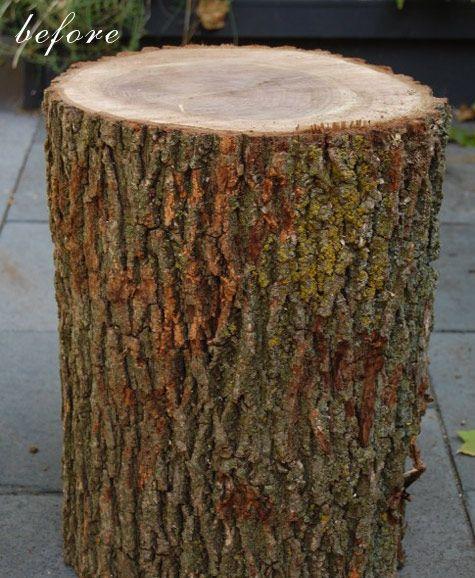 Stump side table stool tutorial diy pinterest for Diy wood stump side table