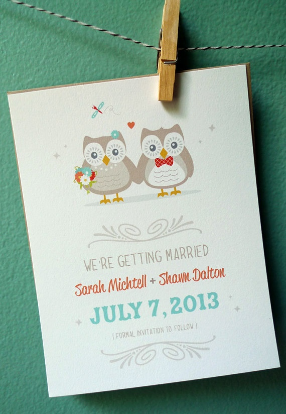 Too adorable not to pin :)  Owl Couple Wedding Save the Date Wedding by NOTESbyredletter, $18.00