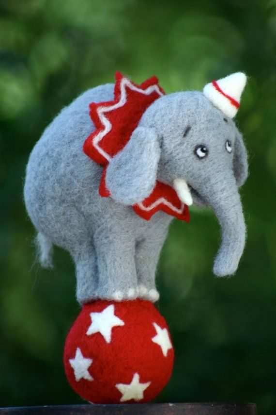Ella the NeedleFelted Circus Elephant by FeltFarm on Etsy