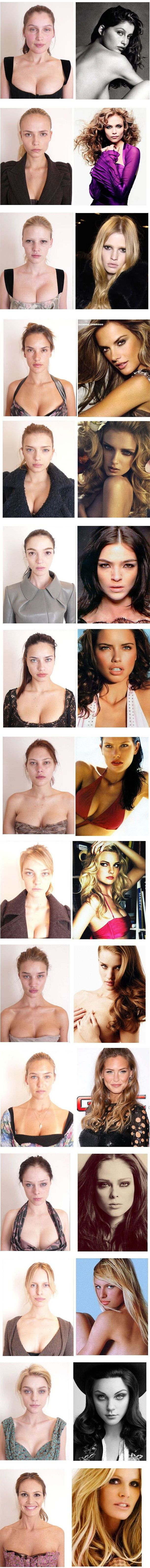Models, before and after makeup. - Guess they're human afterall