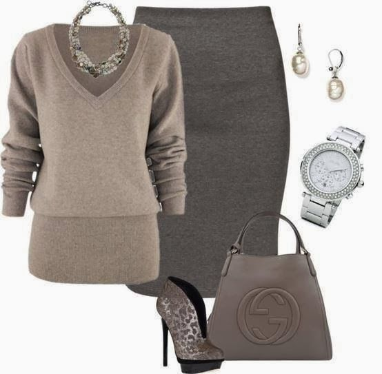 Outfits Ideas for Women... || Neutral colors | Business attire | Pencil skirt. Not the shoes