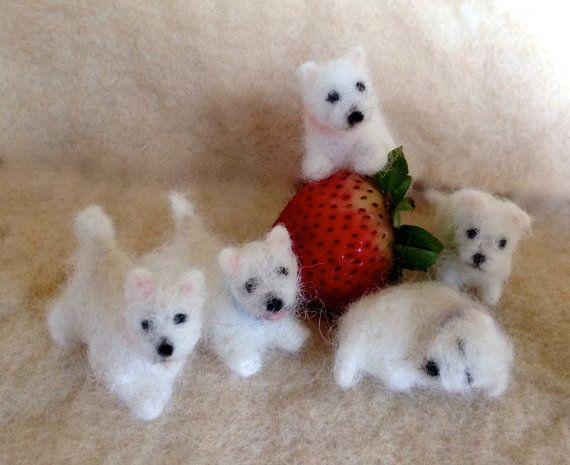 Needle Felted Tiny Westie Dog or Custom Breed by ClaudiaMarieFelt