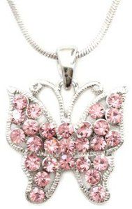 "Pretty Light Pink Crystal Embellished Butterfly Pendant/necklace -Silver Rhodium Plated Necklaces by Glamour Girl Gifts. Save 37 Off!. $16.99. Butterfly measures 3/4"". Butterfly features pretty pink crystals and a detailed cut-out pattern. Lead and nickel safe. Comes packaged ready for gift-giving. Chain is 17"""
