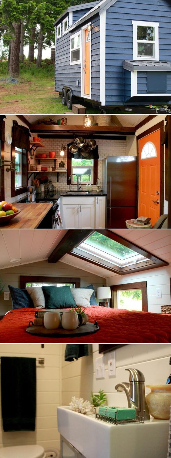 """This 140 sq.ft. craftsman-style tiny house features a master bedroom loft large enough for a king bed, skylights throughout, and 12' of countertop space. The butcher block countertop flips open and reveals a 50"""" flatscreen TV."""