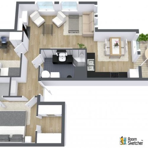 You Decide Is The Living Room Large Enough In This 2 Bedroom Apartment Visualize