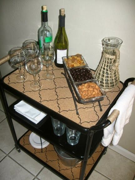 Turn an old metal cart into a bar cart | The Palette Muse featured on Remodelaholic.com #barcart #salvaged #furniture
