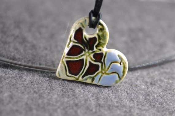 ceramic heart colorful spring ceramic jewelry flower by zolanna