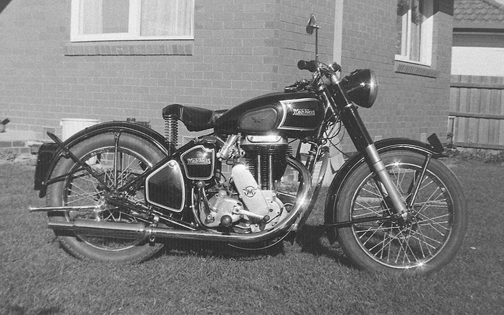 1950 Matchless G80 500cc motorcycle. Bogner baked enamel paintwork. Photogtraphed in Melbourne circa 1976 upon completion of restoration. My dad had one of these and he had a sidecar that I rode in as a child before we had a car.