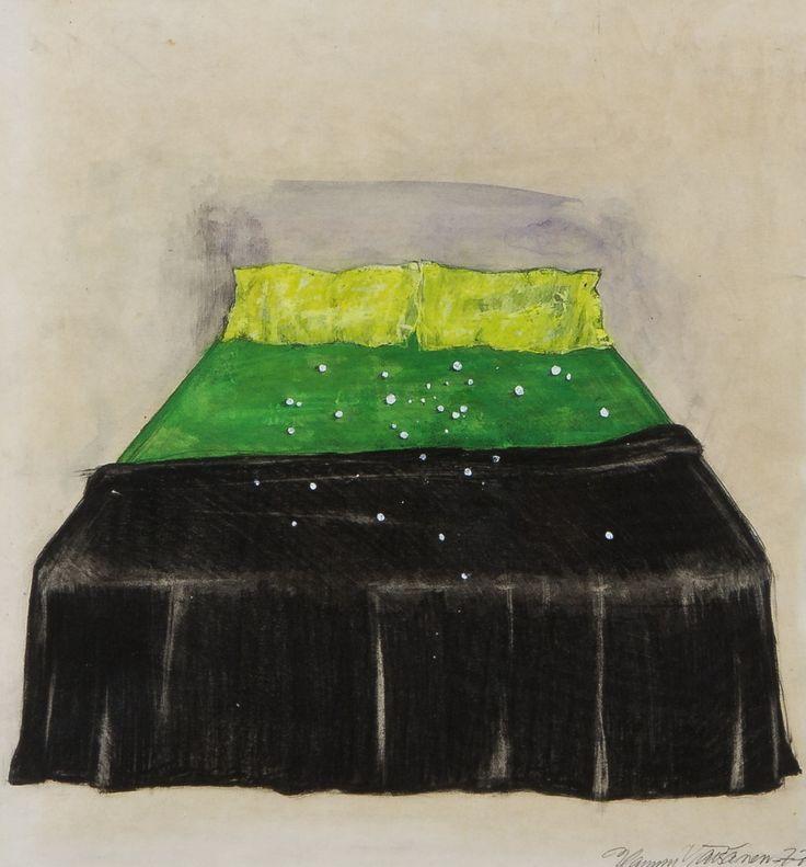 Hannu Väisänen: Sänky, 1977, sekatekniikka, 35x32 cm - Hagelstam A136